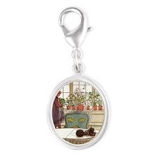 Girl at Window Silver Oval Charm