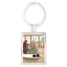 Girl at Window Portrait Keychain