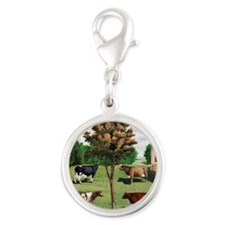 Cows Silver Round Charm
