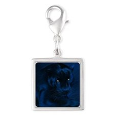 yellow eyes Silver Square Charm