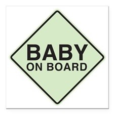 "Baby on Board Square Car Magnet 3"" x 3"""