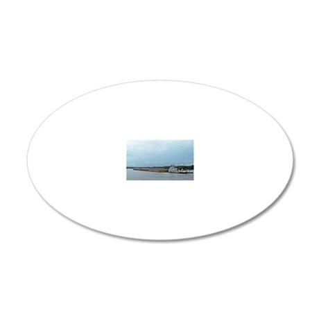 Mississippi River Barge 20x12 Oval Wall Decal