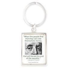 Ben Franklin Money Quote Portrait Keychain