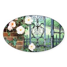 Flowers blooming on wrought iron ga Decal