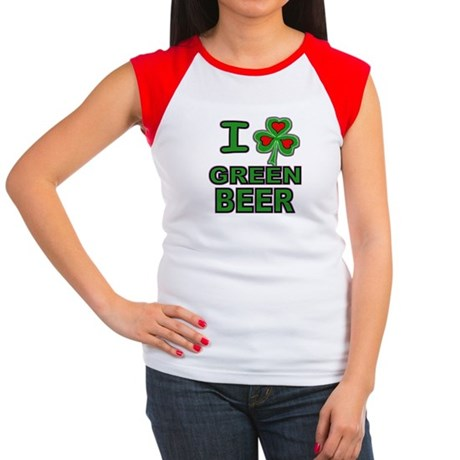 I Shamrock Heart Green Beer Women's Cap Sleeve Tee