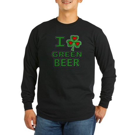 I Shamrock Heart Green Beer Long Sleeve Dark Tee