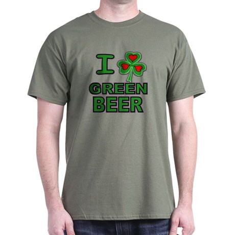 I Shamrock Heart Green Beer Dark T-Shirt