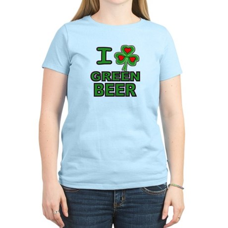 I Shamrock Heart Green Beer Women's Light T-Shirt