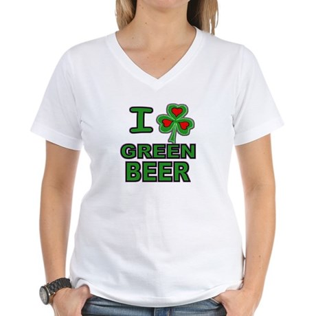 I Shamrock Heart Green Beer Women's V-Neck T-Shirt