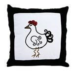 Wobbly Hen Throw Pillow