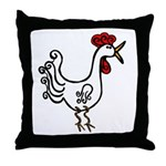 Wobbly Rooster Throw Pillow