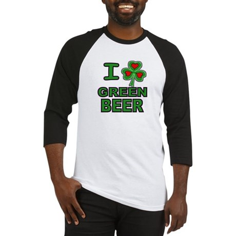 I Shamrock Heart Green Beer Baseball Jersey