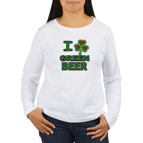 I Shamrock Heart Green Beer Women's Long Sleeve T