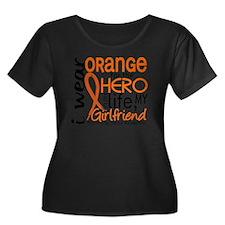 D Girlfr Women's Plus Size Dark Scoop Neck T-Shirt