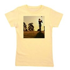 Female golfer swinging club on golf cou Girl's Tee