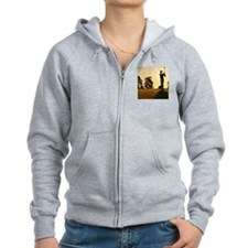 Female golfer swinging club on  Zip Hoodie