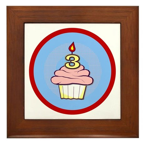 3rd Birthday Cupcake (girl) Framed Tile