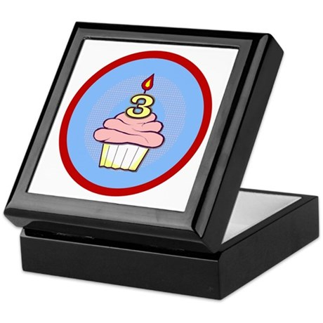 3rd Birthday Cupcake (girl) Keepsake Box