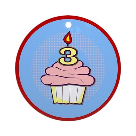3rd Birthday Cupcake (girl) Ornament (Round)