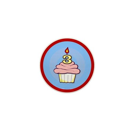 3rd Birthday Cupcake (girl) Mini Button