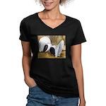 Saddle Fantails Women's V-Neck Dark T-Shirt