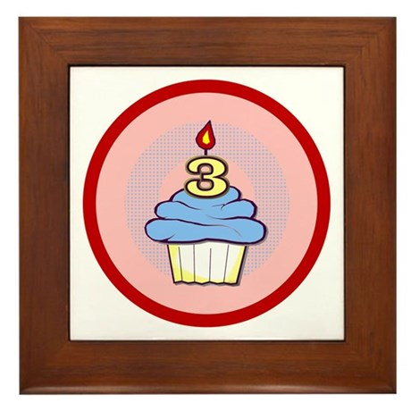 3rd Birthday Cupcake (boy) Framed Tile