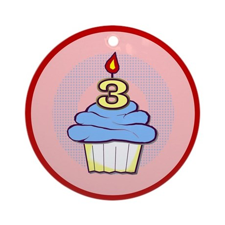 3rd Birthday Cupcake (boy) Ornament (Round)