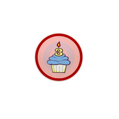 3rd Birthday Cupcake (boy) Mini Button (100 pack)