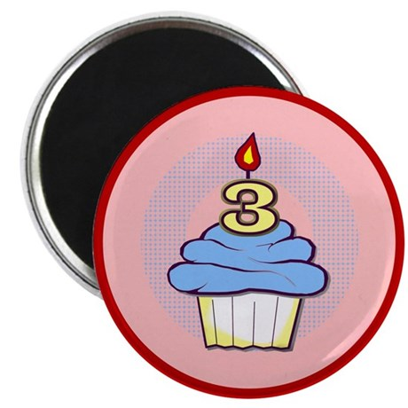 "3rd Birthday Cupcake (boy) 2.25"" Magnet (10 pack)"