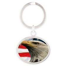 Eagle Design 2 Tile Coaster Oval Keychain