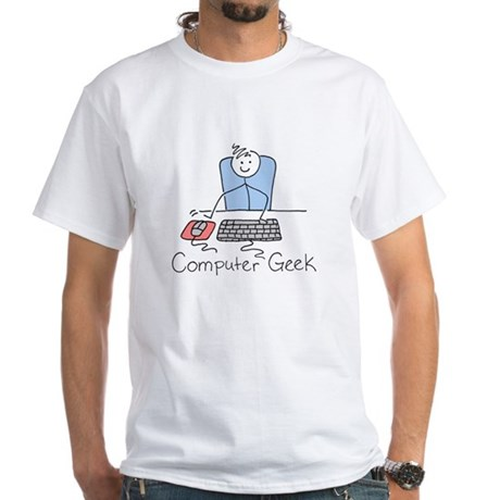 Computer Geek White T-Shirt