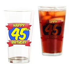 Happy 45th Birthday Balloon Drinking Glass