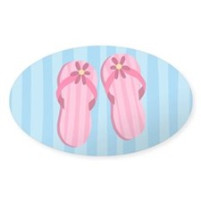 Pink Flip Flops Oval Decal