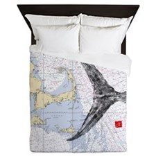 Mass bay and islands with tuna tail Queen Duvet