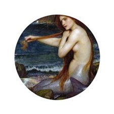 "John William Waterhouse Mermaid 3.5"" Button"
