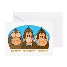 See,Speak,Hear No Evil Greeting Cards (Package of