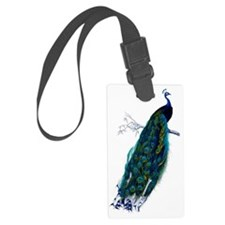 Colorful Peacock Perched Graphic Luggage Tag