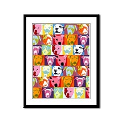Pop Art Pit Bulls Framed Panel Print