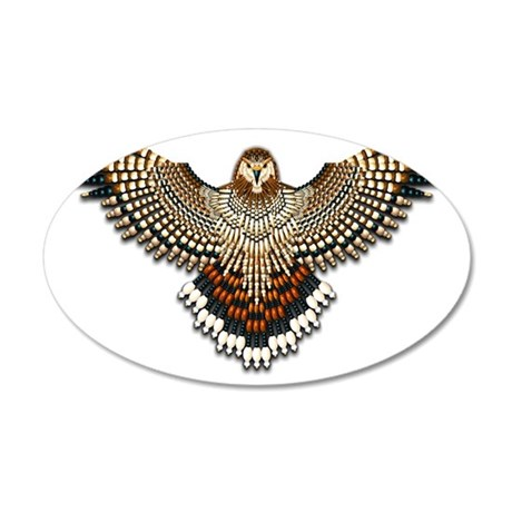 Beadwork Red-Tailed Hawk 35x21 Oval Wall Decal