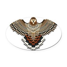 Beadwork Red-Tailed Hawk Oval Car Magnet