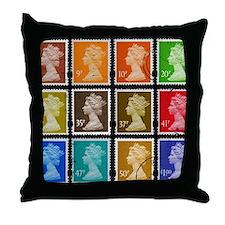 UK Stamps Throw Pillow