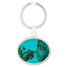 aqua man and dog Oval Keychain