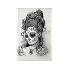 Maroon dia de los Muertos pillow  Rectangle Magnet