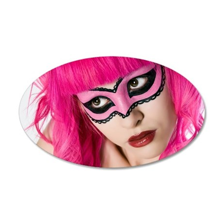 Pink Mask 35x21 Oval Wall Decal