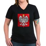 Polish Coat of Arms Women's V-Neck Dark T-Shirt