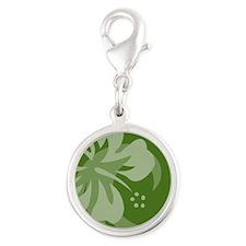 Hibiscus Dark Green Round Pet  Silver Round Charm