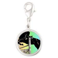 Rainbow Jumping Horse Silver Round Charm