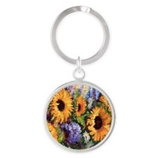 Sunflower Round Keychain