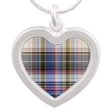 Plaid Silver Heart Necklace