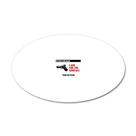 I Aim For The Genitals 20x12 Oval Wall Decal